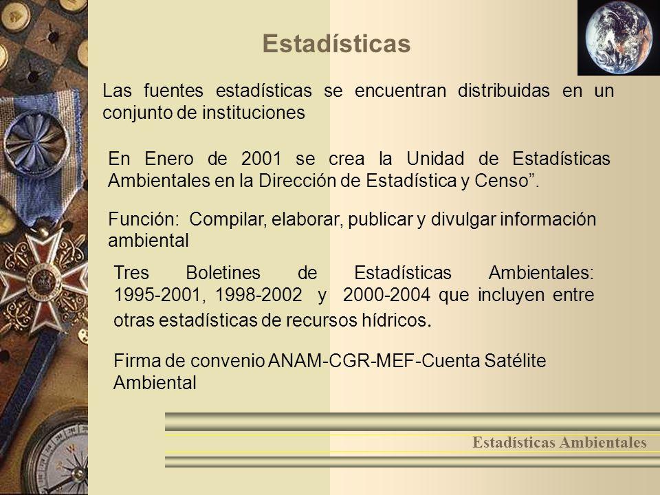 6 Estadísticas Ambientales En Enero de 2001 se crea la Unidad de Estadísticas Ambientales en la Dirección de Estadística y Censo. Estadísticas Función