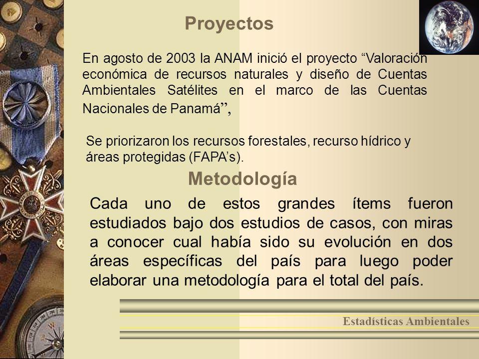 7 Estadísticas Ambientales Proyectos En agosto de 2003 la ANAM inició el proyecto Valoración económica de recursos naturales y diseño de Cuentas Ambie