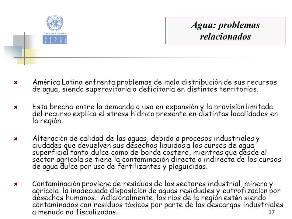 17 Agua: problemas relacionados Am é rica Latina enfrenta problemas de mala distribuci ó n de sus recursos de agua, siendo superavitaria o deficitaria
