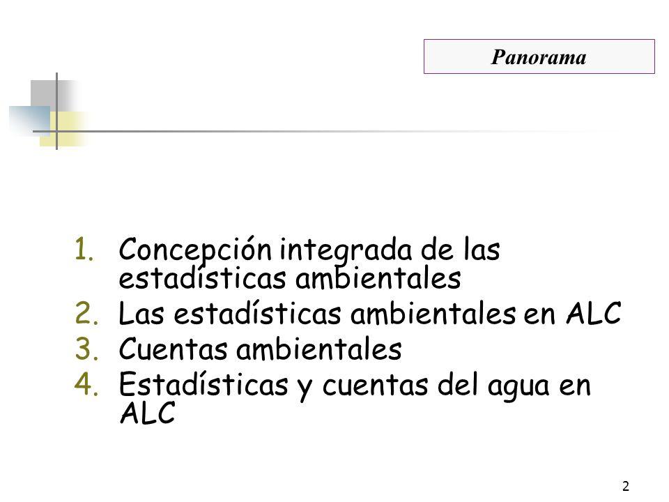 2 1.Concepción integrada de las estadísticas ambientales 2.Las estadísticas ambientales en ALC 3.Cuentas ambientales 4.Estadísticas y cuentas del agua