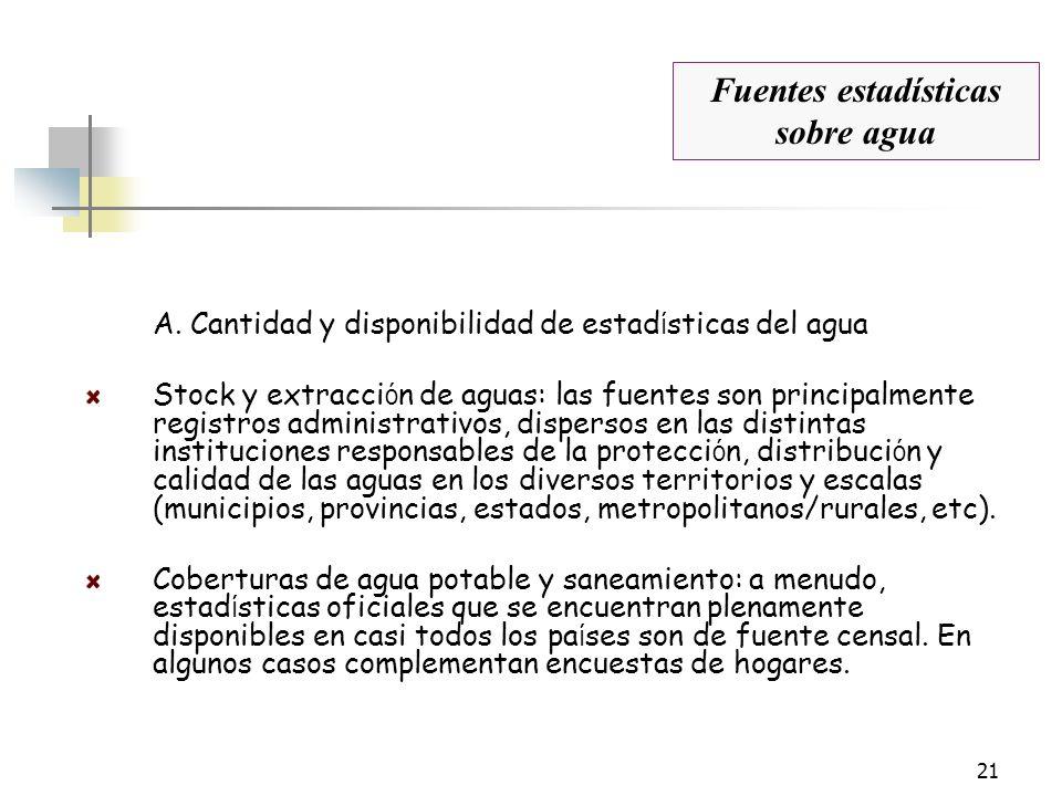 21 A. Cantidad y disponibilidad de estad í sticas del agua Stock y extracci ó n de aguas: las fuentes son principalmente registros administrativos, di