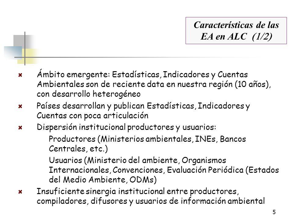 5 Estadísticas, Indicadores y Cuentas Ambientales en ALC Ámbito emergente: Estadísticas, Indicadores y Cuentas Ambientales son de reciente data en nue