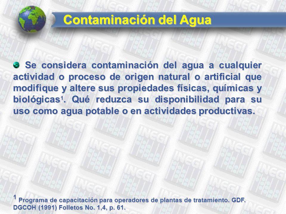 Se considera contaminación del agua a cualquier actividad o proceso de origen natural o artificial que modifique y altere sus propiedades físicas, químicas y biológicas 1.