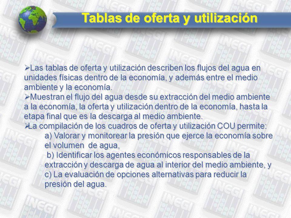 Tablas de oferta y utilización Las tablas de oferta y utilización describen los flujos del agua en unidades físicas dentro de la economía, y además entre el medio ambiente y la economía.