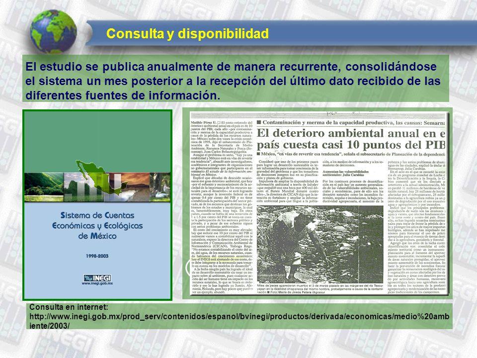 Consulta y disponibilidad El estudio se publica anualmente de manera recurrente, consolidándose el sistema un mes posterior a la recepción del último dato recibido de las diferentes fuentes de información.