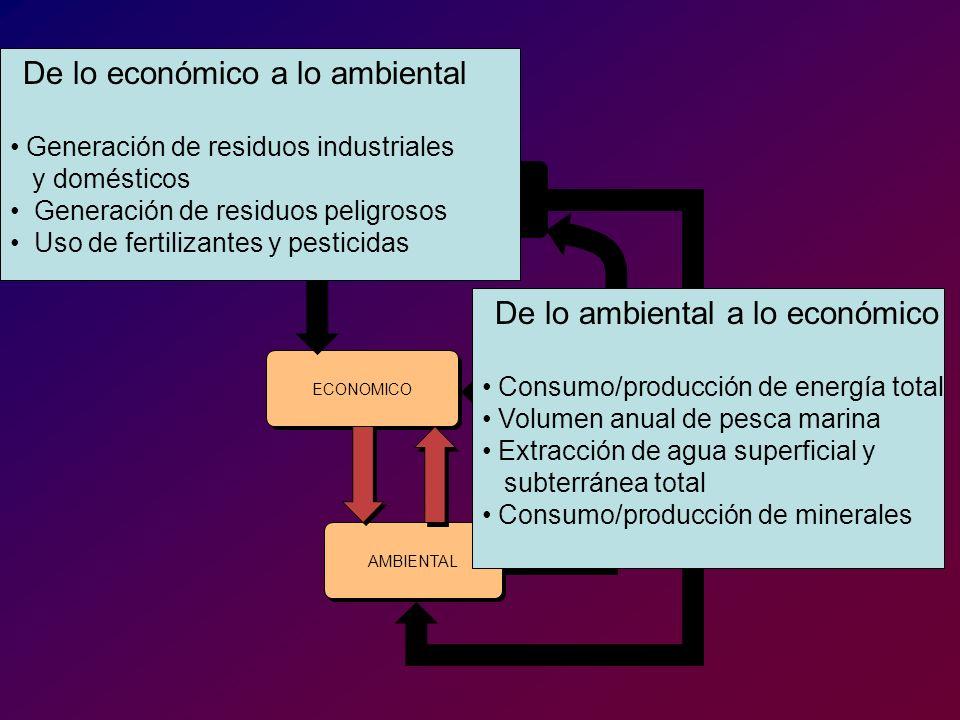 INSTITUCIONAL SOCIAL ECONOMICO AMBIENTAL De lo económico a lo ambiental Generación de residuos industriales y domésticos Generación de residuos peligr