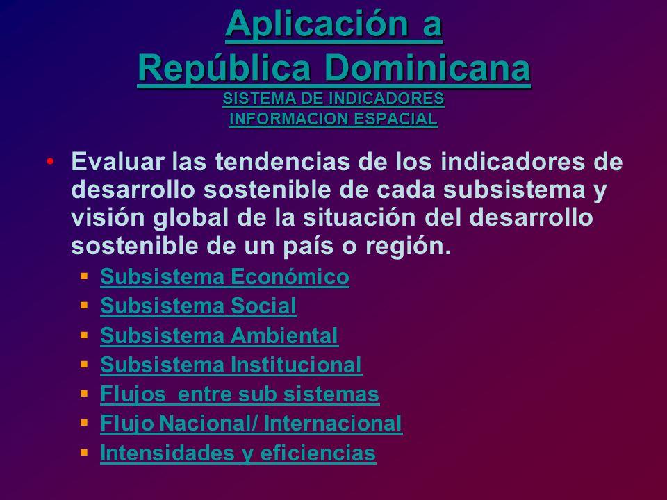 Aplicación a República Dominicana SISTEMA DE INDICADORES INFORMACION ESPACIAL Aplicación a República Dominicana SISTEMA DE INDICADORES INFORMACION ESP