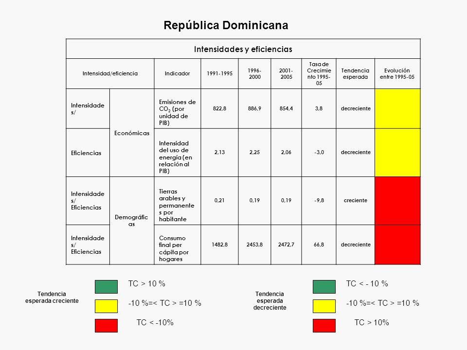 Intensidades y eficiencias Intensidad/eficienciaIndicador1991-1995 1996- 2000 2001- 2005 Tasa de Crecimie nto 1995- 05 Tendencia esperada Evolución en