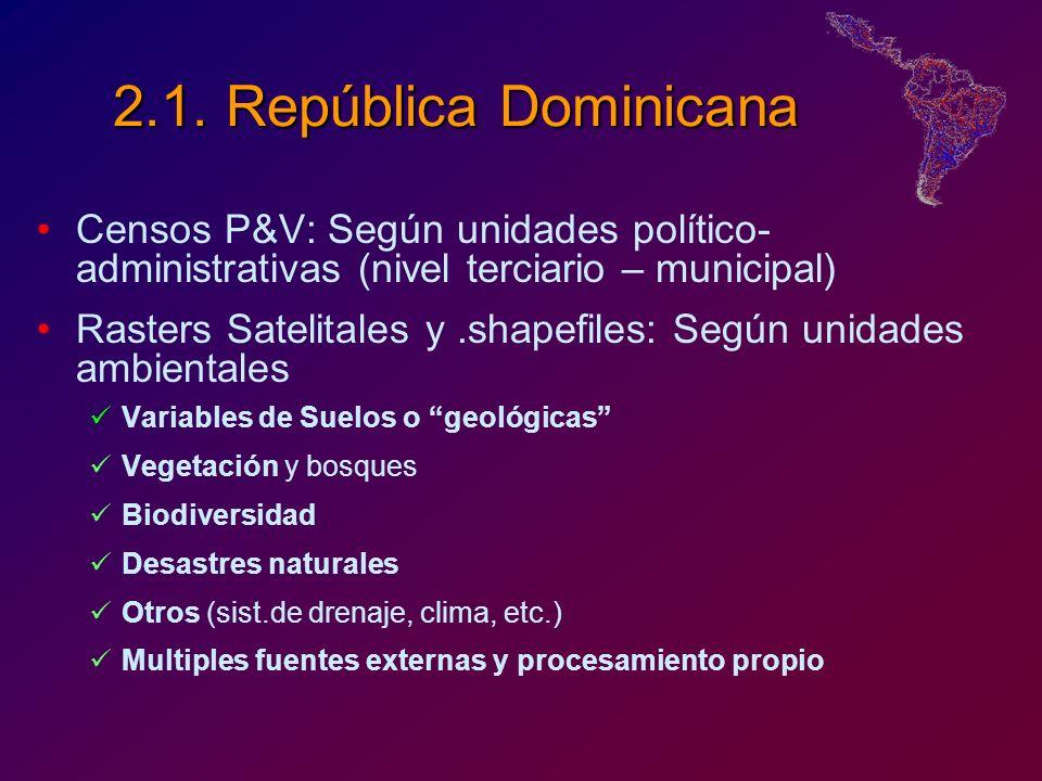 2.1. República Dominicana Censos P&V: Según unidades político- administrativas (nivel terciario – municipal) Rasters Satelitales y.shapefiles: Según u