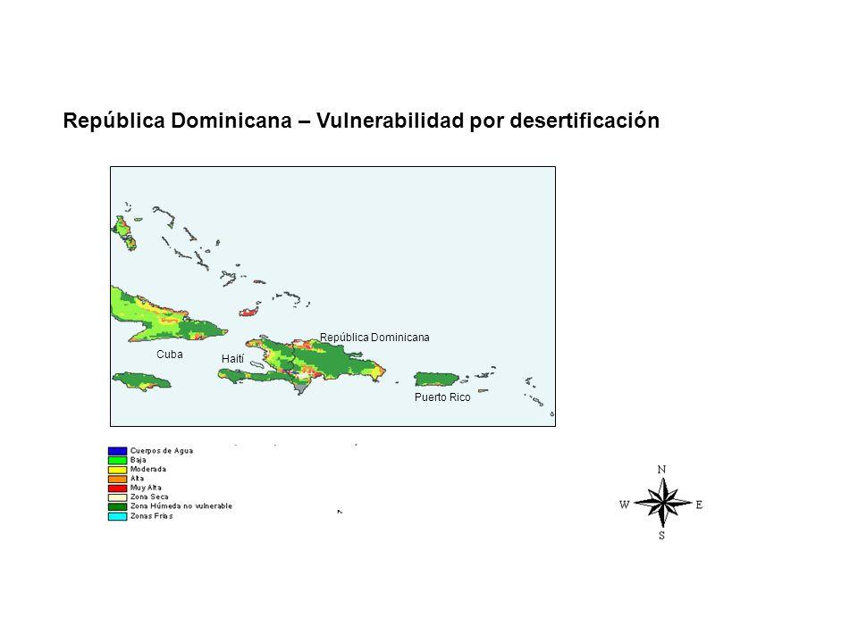República Dominicana – Vulnerabilidad por desertificación Cuba Haití República Dominicana Puerto Rico