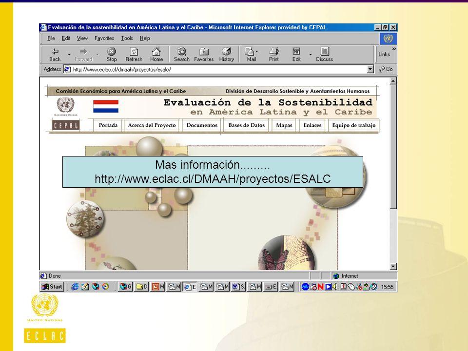 Mas información......... http://www.eclac.cl/DMAAH/proyectos/ESALC