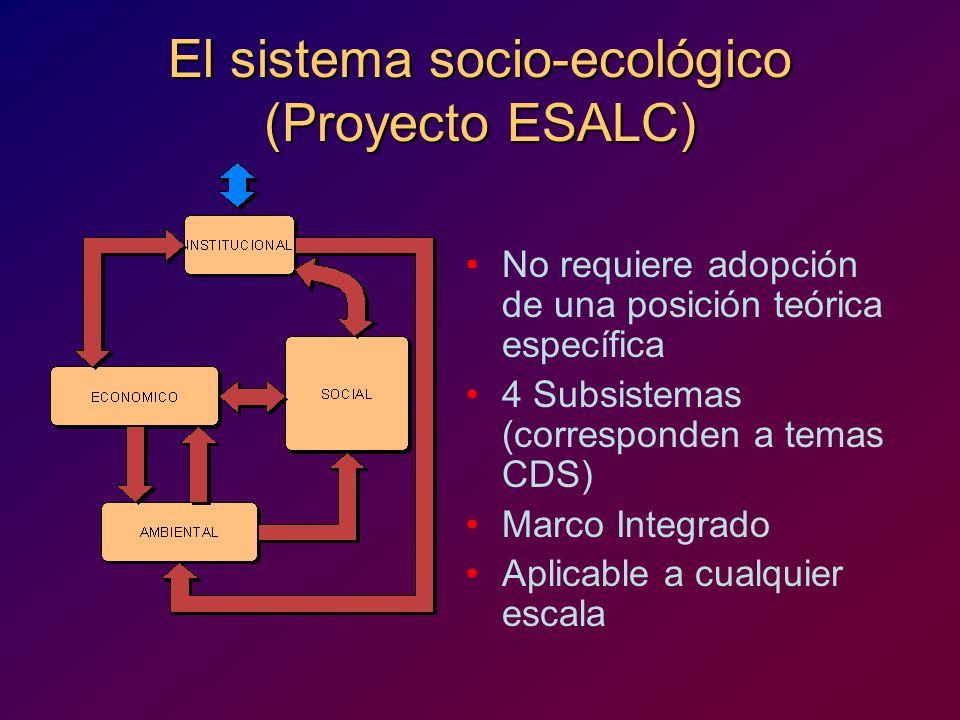 El sistema socio-ecológico (Proyecto ESALC) No requiere adopción de una posición teórica específica 4 Subsistemas (corresponden a temas CDS) Marco Int