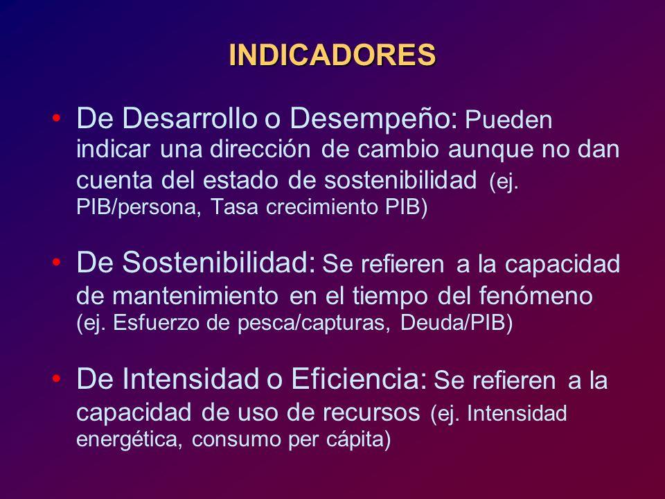 INDICADORES De Desarrollo o Desempeño: Pueden indicar una dirección de cambio aunque no dan cuenta del estado de sostenibilidad (ej. PIB/persona, Tasa