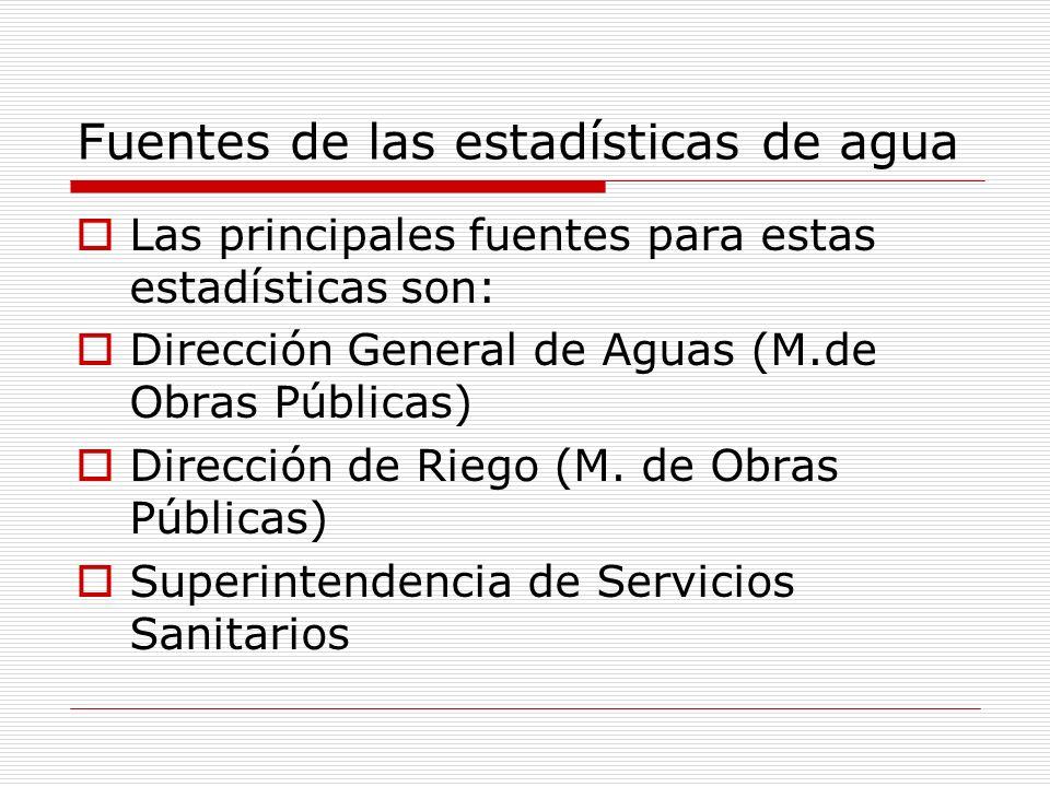 Fuentes de las estadísticas de agua Las principales fuentes para estas estadísticas son: Dirección General de Aguas (M.de Obras Públicas) Dirección de