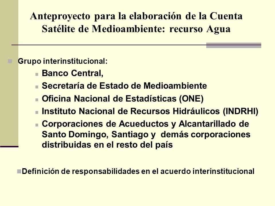 Anteproyecto para la elaboración de la Cuenta Satélite de Medioambiente: recurso Agua Grupo interinstitucional: Banco Central, Secretaría de Estado de
