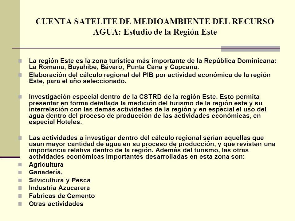CUENTA SATELITE DE MEDIOAMBIENTE DEL RECURSO AGUA: Estudio de la Región Este La región Este es la zona turística más importante de la República Domini