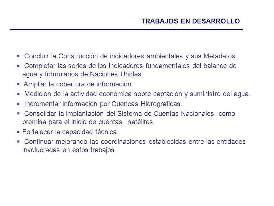 TRABAJOS EN DESARROLLO Concluir la Construcción de indicadores ambientales y sus Metadatos.