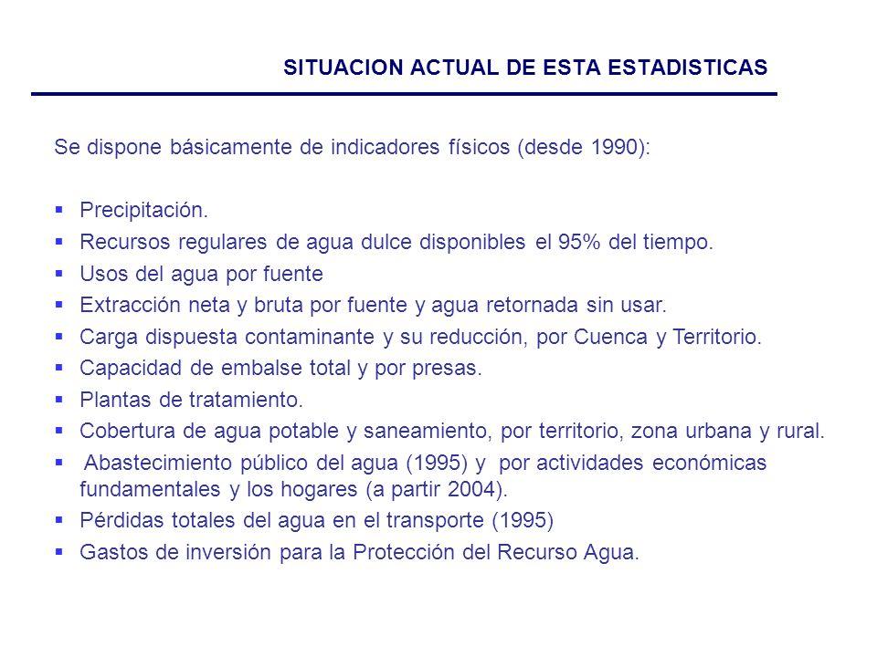 SITUACION ACTUAL DE ESTA ESTADISTICAS Se dispone básicamente de indicadores físicos (desde 1990): Precipitación.