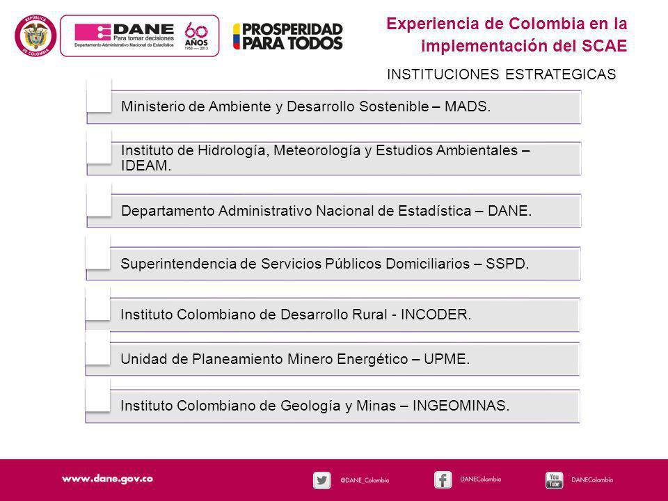 Experiencia de Colombia en la implementación del SCAE INSTITUCIONES ESTRATEGICAS Ministerio de Ambiente y Desarrollo Sostenible – MADS. Instituto de H