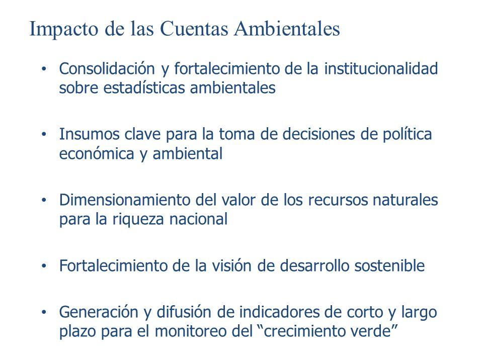 Impacto de las Cuentas Ambientales Consolidación y fortalecimiento de la institucionalidad sobre estadísticas ambientales Insumos clave para la toma d
