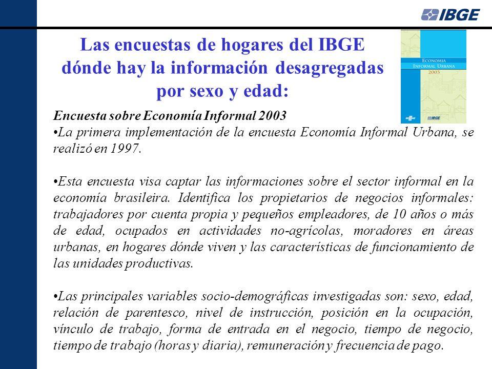 Encuesta sobre Economía Informal 2003 La primera implementación de la encuesta Economía Informal Urbana, se realizó en 1997. Esta encuesta visa captar