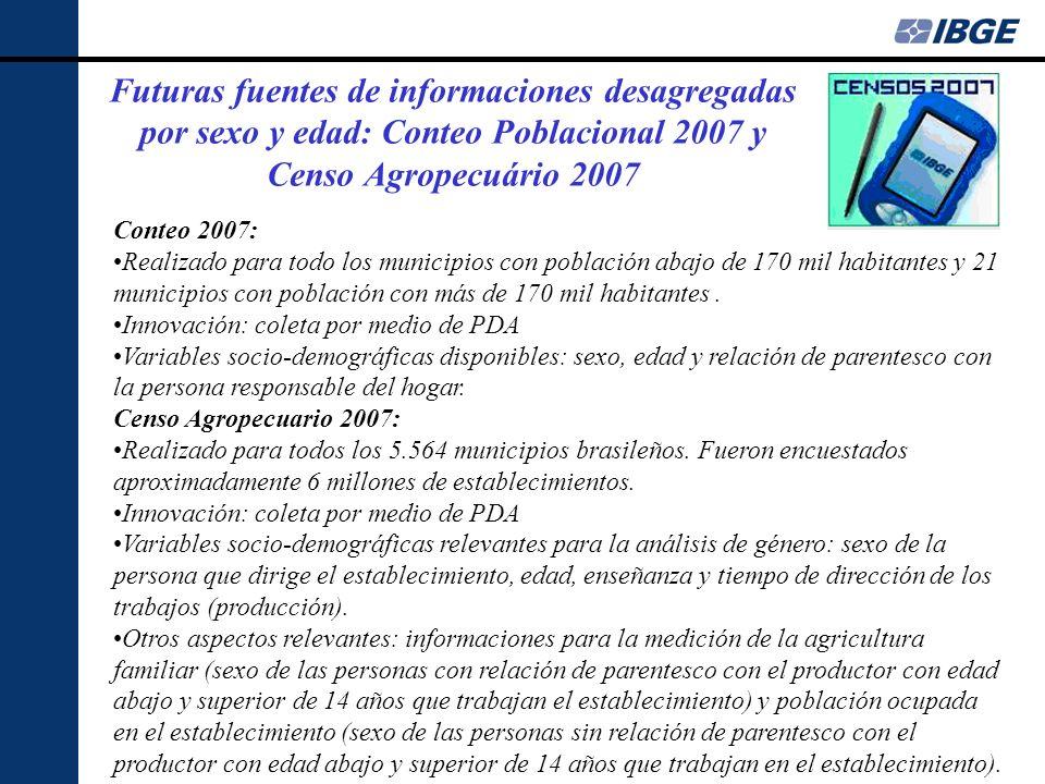 Futuras fuentes de informaciones desagregadas por sexo y edad: Conteo Poblacional 2007 y Censo Agropecuário 2007 Conteo 2007: Realizado para todo los