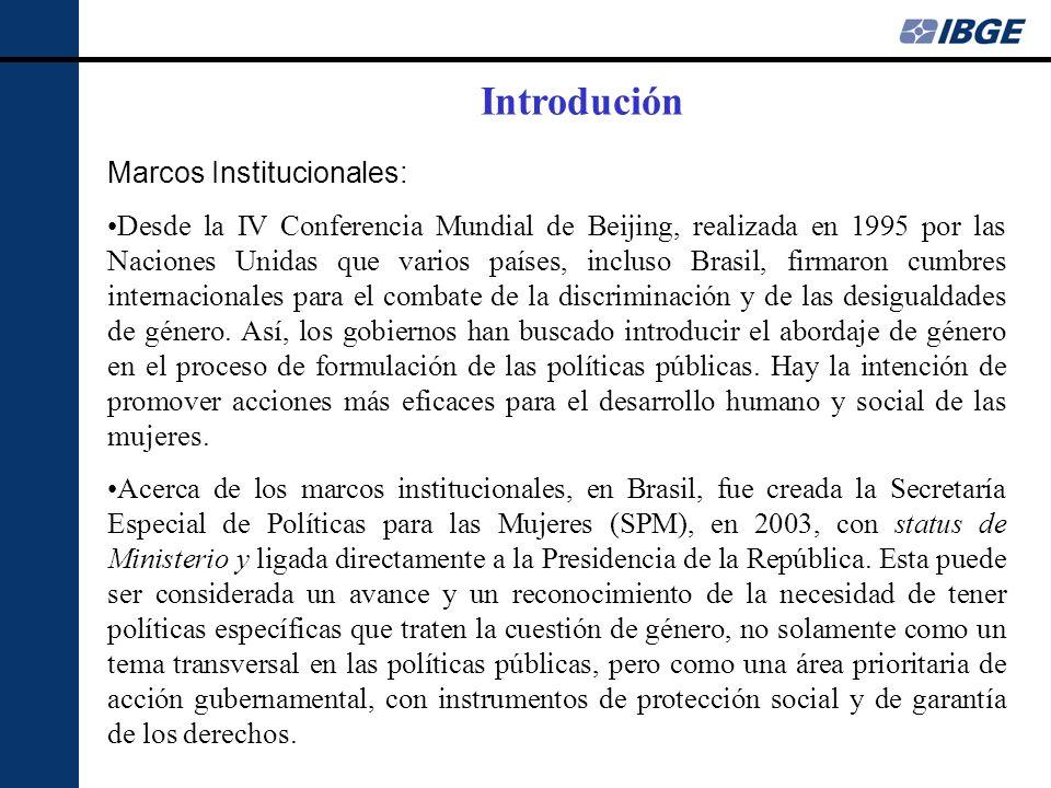Marcos Institucionales: Desde la IV Conferencia Mundial de Beijing, realizada en 1995 por las Naciones Unidas que varios países, incluso Brasil, firmaron cumbres internacionales para el combate de la discriminación y de las desigualdades de género.