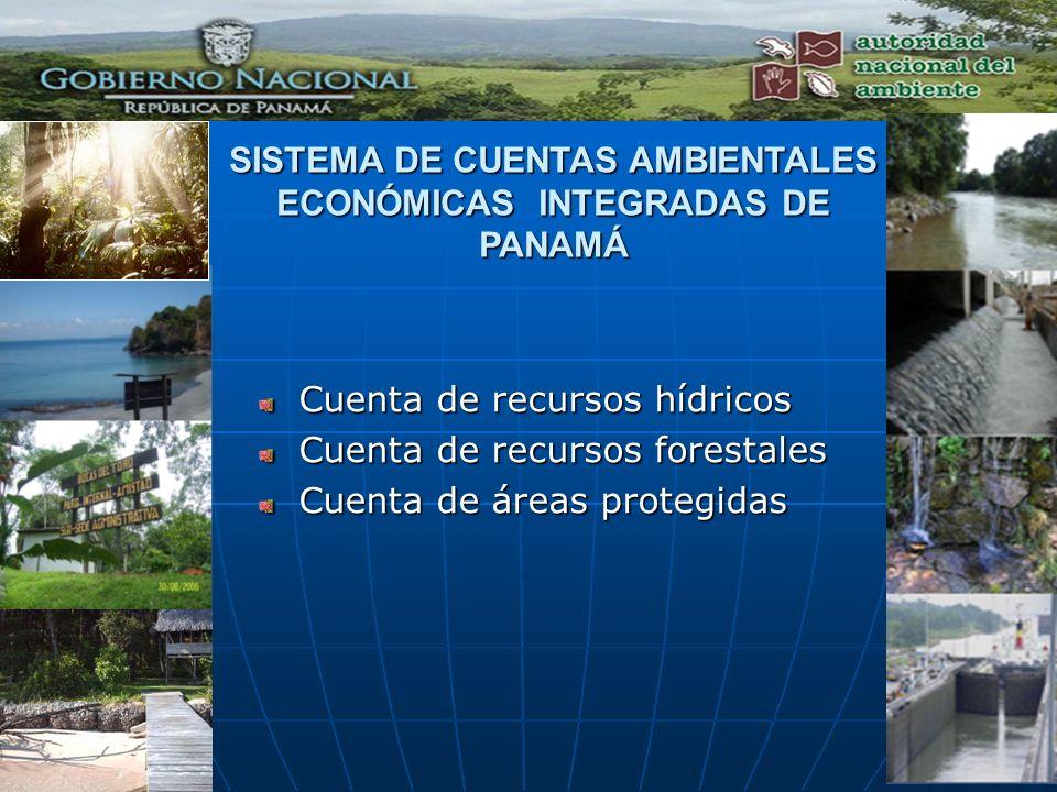 SISTEMA DE CUENTAS AMBIENTALES ECONÓMICAS INTEGRADAS DE PANAMÁ Cuenta de recursos hídricos Cuenta de recursos forestales Cuenta de áreas protegidas