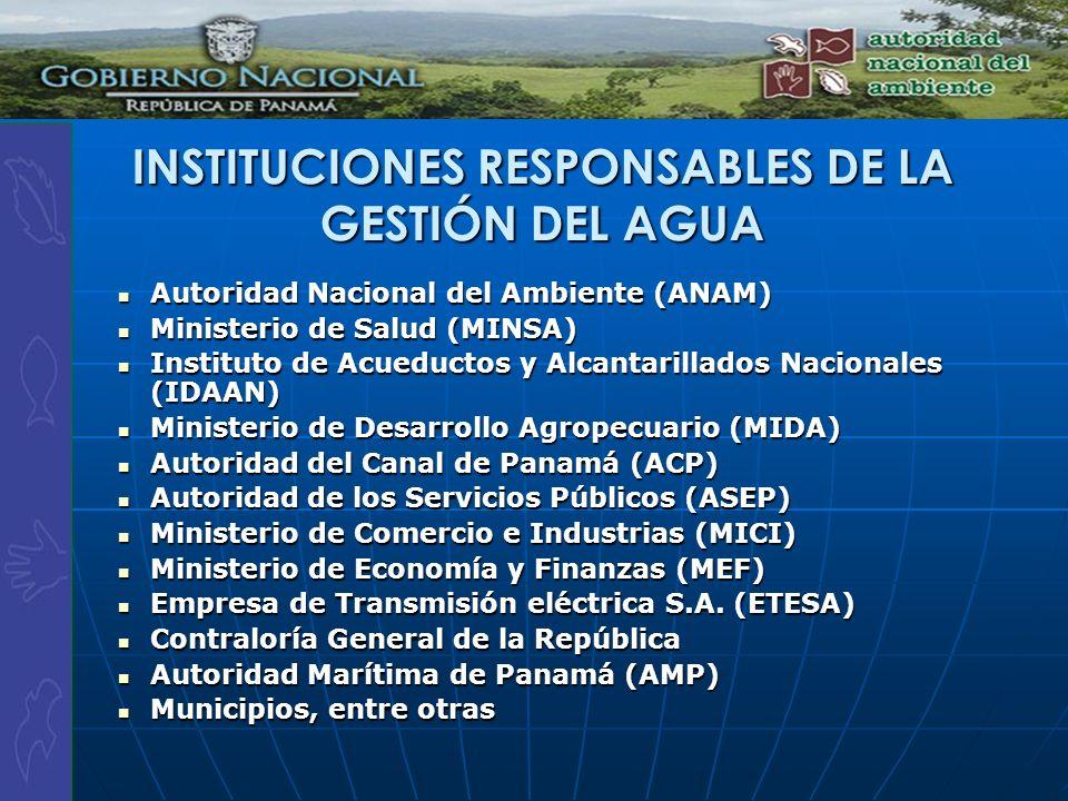 INSTITUCIONES RESPONSABLES DE LA GESTIÓN DEL AGUA Autoridad Nacional del Ambiente (ANAM) Autoridad Nacional del Ambiente (ANAM) Ministerio de Salud (M