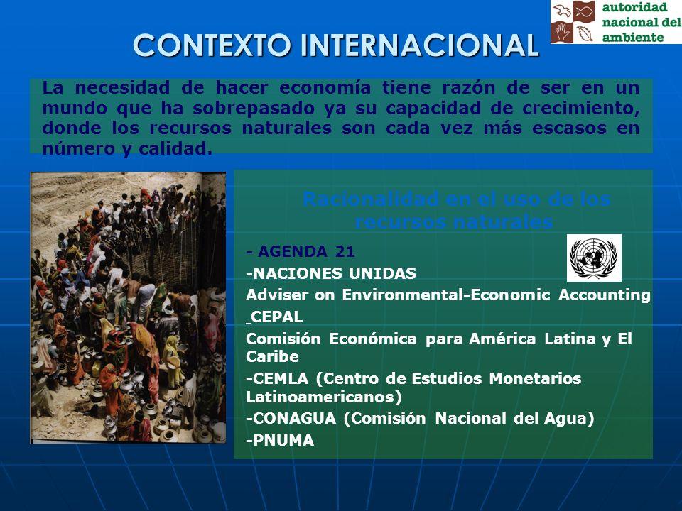 Racionalidad en el uso de los recursos naturales - AGENDA 21 -NACIONES UNIDAS Adviser on Environmental-Economic Accounting CEPAL Comisión Económica pa