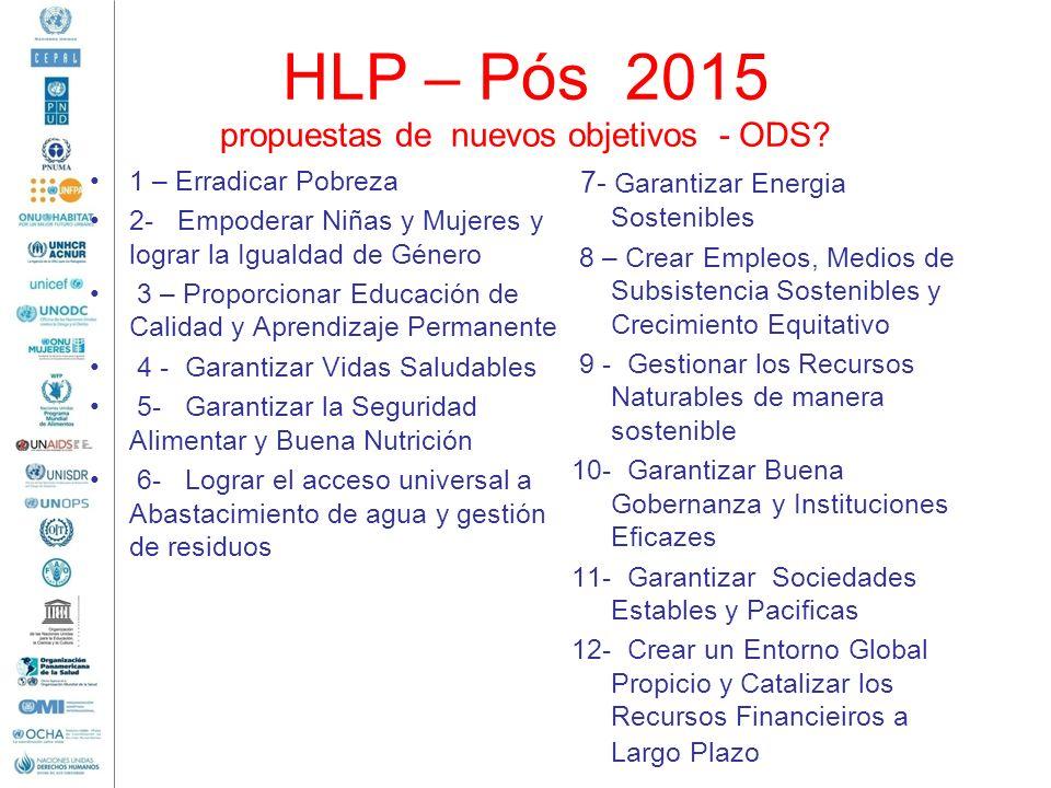 HLP – Pós 2015 propuestas de nuevos objetivos - ODS? 1 – Erradicar Pobreza 2- Empoderar Niñas y Mujeres y lograr la Igualdad de Género 3 – Proporciona