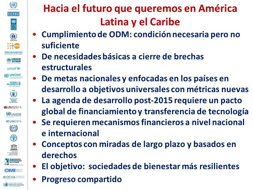 Hacia el futuro que queremos en América Latina y el Caribe Cumplimiento de ODM: condición necesaria pero no suficiente De necesidades básicas a cierre