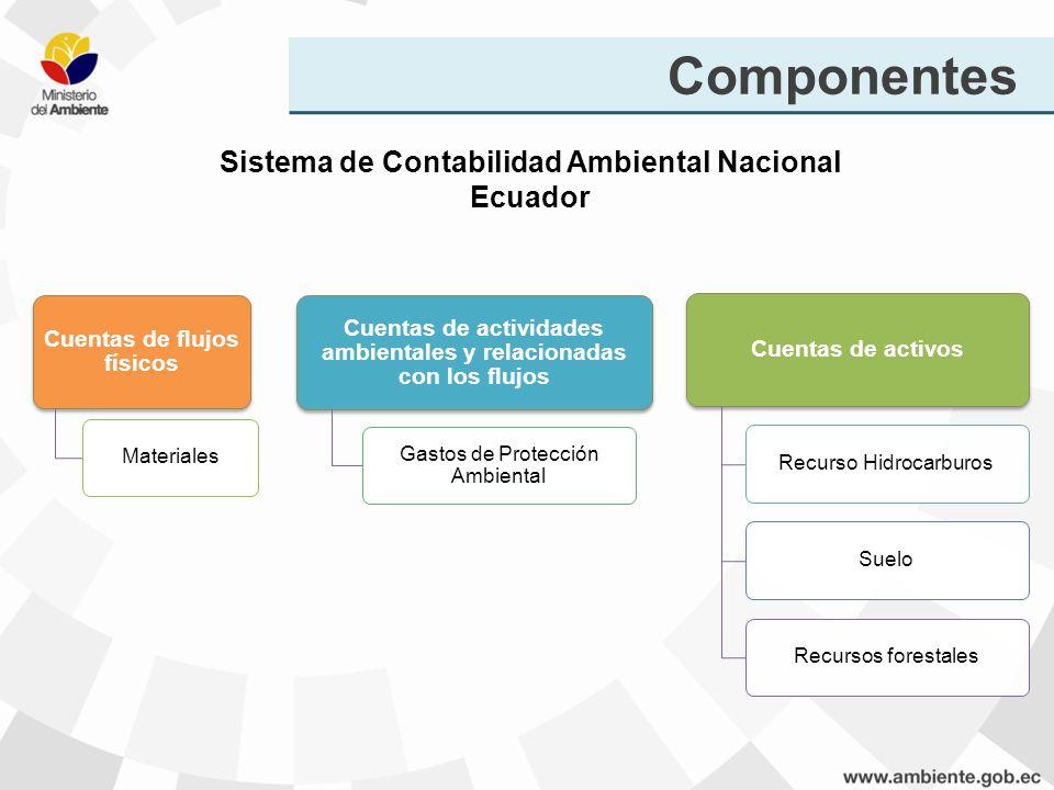 Cuentas de flujos físicos Materiales Cuentas de actividades ambientales y relacionadas con los flujos Gastos de Protección Ambiental Cuentas de activo