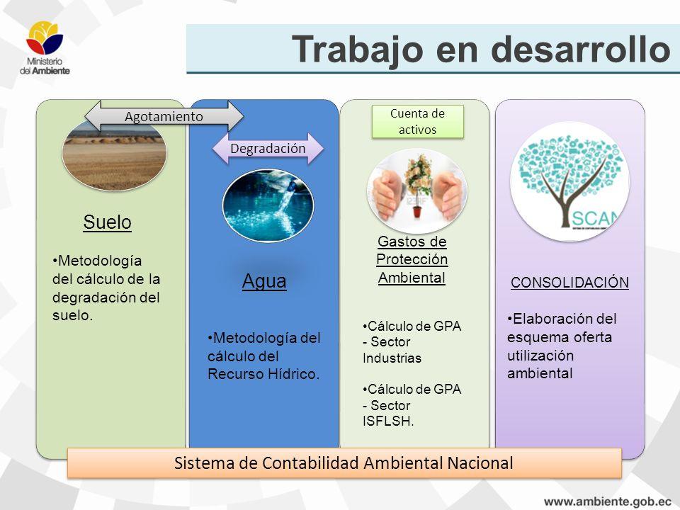 Trabajo en desarrollo Sistema de Contabilidad Ambiental Nacional Agotamiento Degradación Cuenta de activos Suelo Metodología del cálculo de la degrada