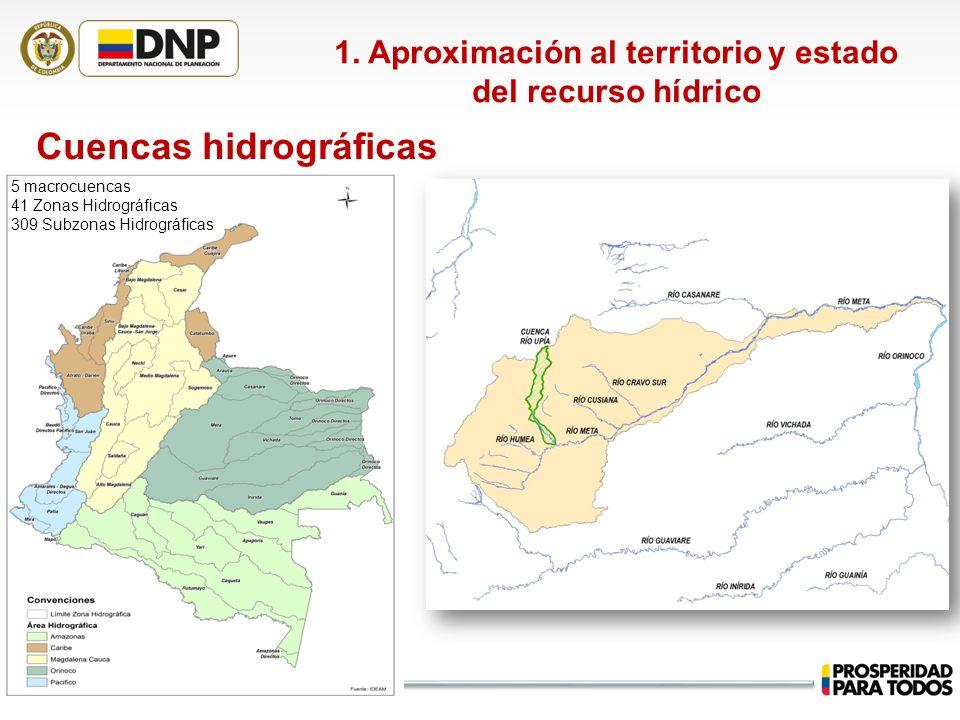 Cuencas hidrográficas 1. Aproximación al territorio y estado del recurso hídrico 5 macrocuencas 41 Zonas Hidrográficas 309 Subzonas Hidrográficas