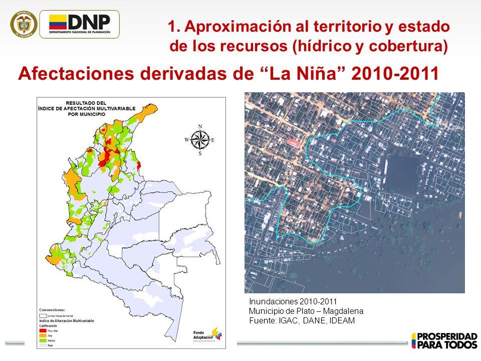 1. Aproximación al territorio y estado de los recursos (hídrico y cobertura) Afectaciones derivadas de La Niña 2010-2011 Inundaciones 2010-2011 Munici