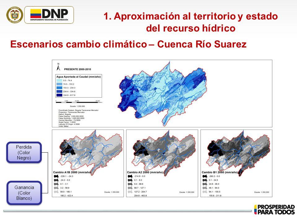 1. Aproximación al territorio y estado del recurso hídrico Escenarios cambio climático – Cuenca Río Suarez Ganancia (Color Blanco) Ganancia (Color Bla