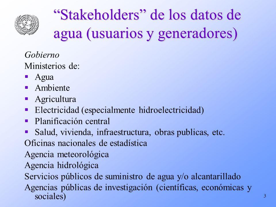 3 Stakeholders de los datos de agua (usuarios y generadores) Gobierno Ministerios de: Agua Ambiente Agricultura Electricidad (especialmente hidroelectricidad) Planificación central Salud, vivienda, infraestructura, obras publicas, etc.