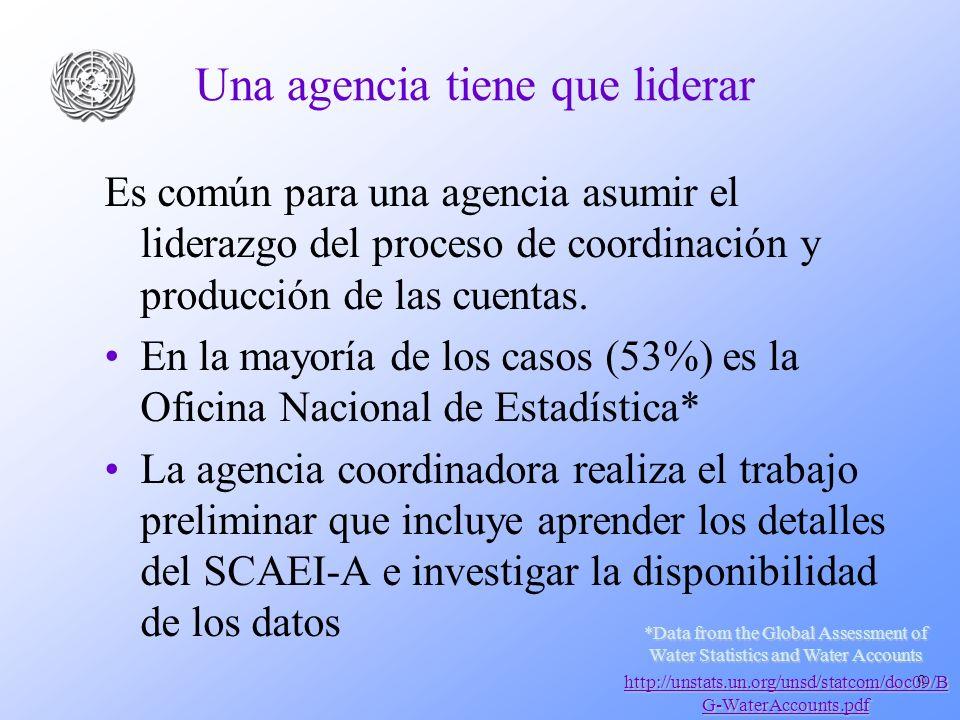 9 Una agencia tiene que liderar Es común para una agencia asumir el liderazgo del proceso de coordinación y producción de las cuentas.