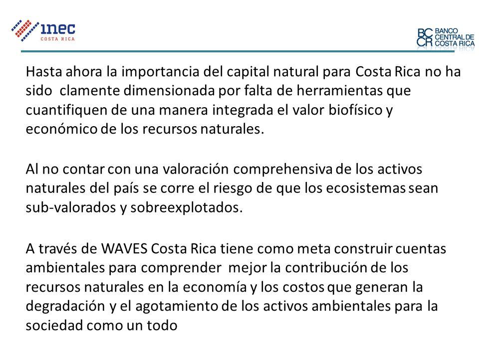 A través de WAVES Costa Rica tiene como meta construir cuentas ambientales para comprender mejor la contribución de los recursos naturales en la econo