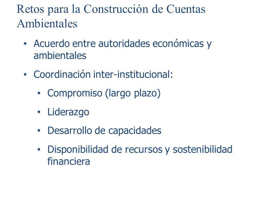 Retos para la Construcción de Cuentas Ambientales Acuerdo entre autoridades económicas y ambientales Coordinación inter-institucional: Compromiso (lar
