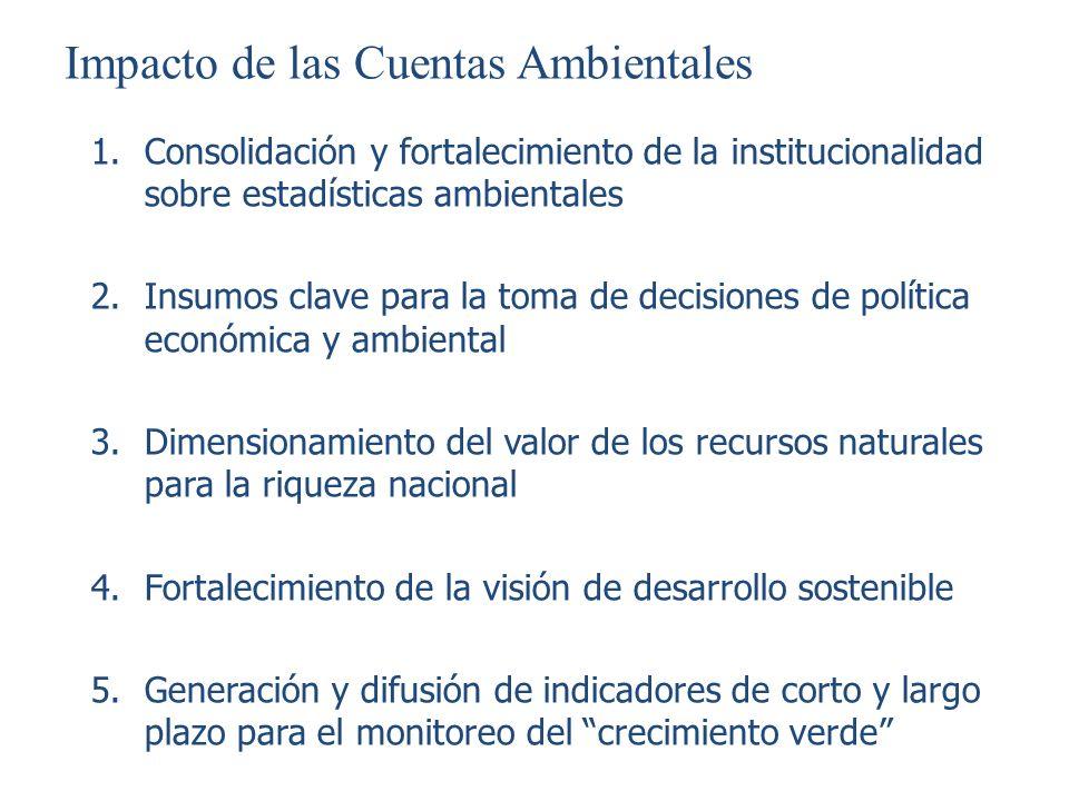 Impacto de las Cuentas Ambientales 1.Consolidación y fortalecimiento de la institucionalidad sobre estadísticas ambientales 2.Insumos clave para la to