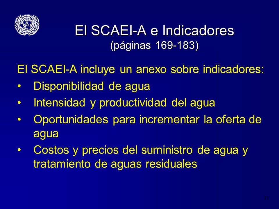 11 El SCAEI-A e Indicadores (páginas 169-183) El SCAEI-A incluye un anexo sobre indicadores: Disponibilidad de agua Intensidad y productividad del agu