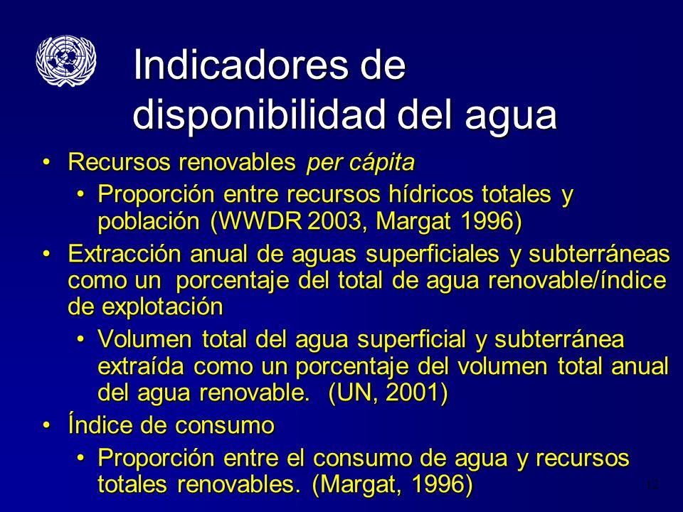 12 Indicadores de disponibilidad del agua Recursos renovables per cápitaRecursos renovables per cápita Proporción entre recursos hídricos totales y po