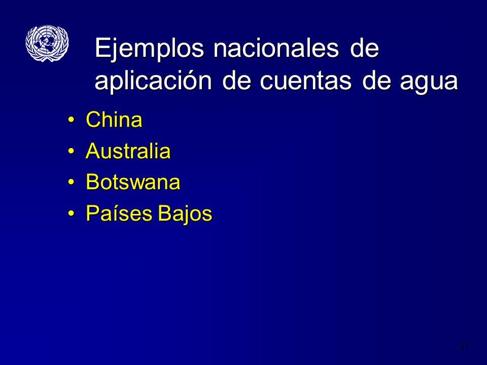 22 Desarrollo de Cuentas del Agua en China Nov 2006 – Delegación de China de la Oficina Nacional de Estadística (NBS) y el Ministerio de los Recursos Hídricos (MWR) visitan Nueva York para recibir capacitación en el SCAEI-ANov 2006 – Delegación de China de la Oficina Nacional de Estadística (NBS) y el Ministerio de los Recursos Hídricos (MWR) visitan Nueva York para recibir capacitación en el SCAEI-A Ene-Mar 2007 Comité de proyecto formado– DENU, NBS and MWREne-Mar 2007 Comité de proyecto formado– DENU, NBS and MWR Avr-Julio 2007 Cuadros piloto de oferta y utilización física y emisiones completadasAvr-Julio 2007 Cuadros piloto de oferta y utilización física y emisiones completadas Aug 2007 UN Misión a China para revisar las cuentas pilotoAug 2007 UN Misión a China para revisar las cuentas piloto Sep-Dic 2007 Cuentas hibridas de oferta y uso y cuentas de activos completadasSep-Dic 2007 Cuentas hibridas de oferta y uso y cuentas de activos completadas Enero 2008 – Delegación China visita NU en Nueva York para capacitación en SCAEI-AEnero 2008 – Delegación China visita NU en Nueva York para capacitación en SCAEI-A En 14 meses un gran diferencia se había logrado con los datos existentes