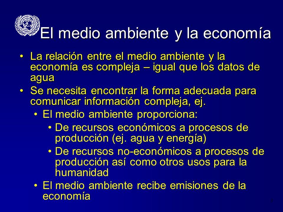 3 El medio ambiente y la economía La relación entre el medio ambiente y la economía es compleja – igual que los datos de aguaLa relación entre el medi