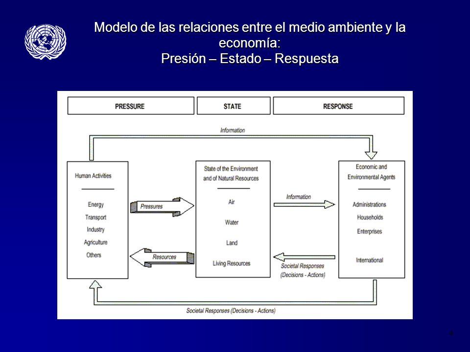 4 Modelo de las relaciones entre el medio ambiente y la economía: Presión – Estado – Respuesta