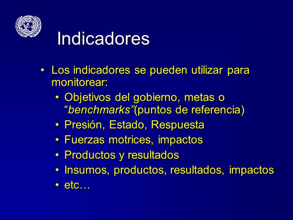 5 Indicadores Los indicadores se pueden utilizar para monitorear:Los indicadores se pueden utilizar para monitorear: Objetivos del gobierno, metas obe
