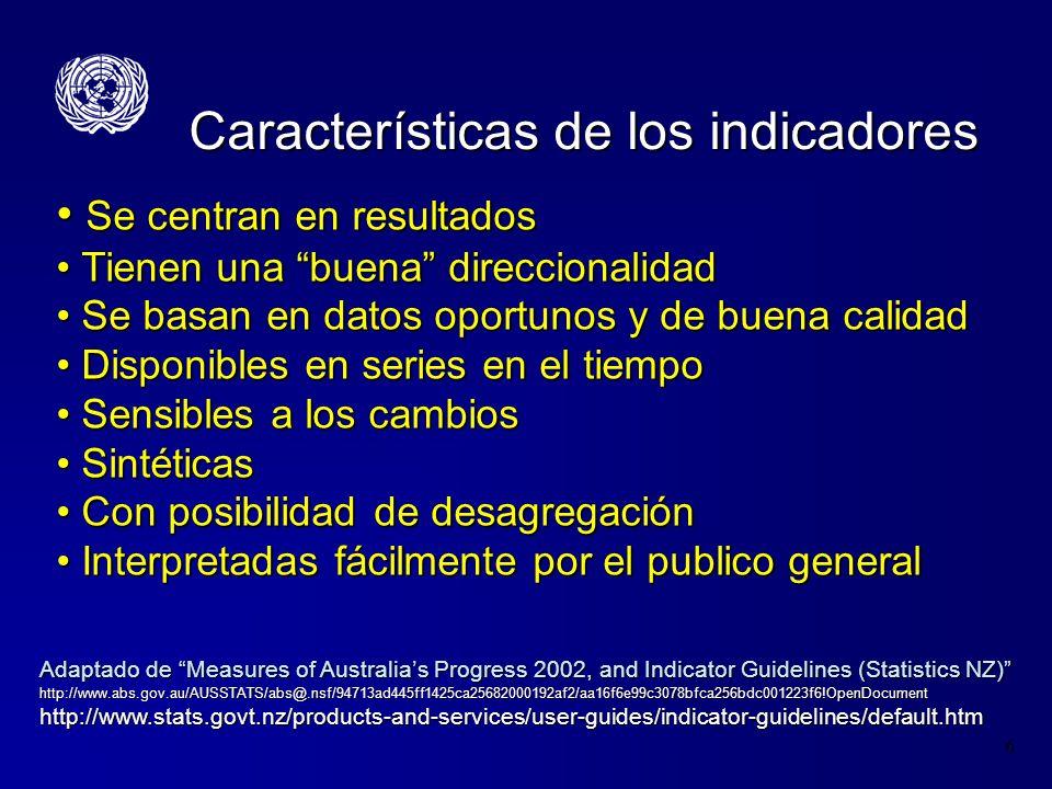 6 Características de los indicadores Se centran en resultados Se centran en resultados Tienen una buena direccionalidad Tienen una buena direccionalid