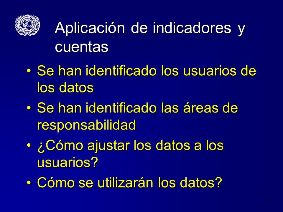 9 Aplicación de indicadores y cuentas Se han identificado los usuarios de los datosSe han identificado los usuarios de los datos Se han identificado l